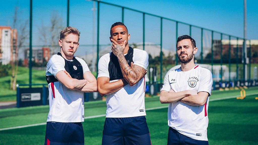 NEW ALBUM POSTER? Zinchenko, Danilo and Bernardo pose for the camera