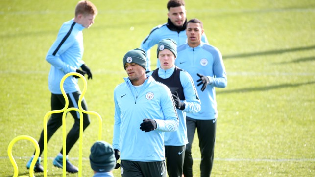 LEADER: Vincent Kompany heads the pack