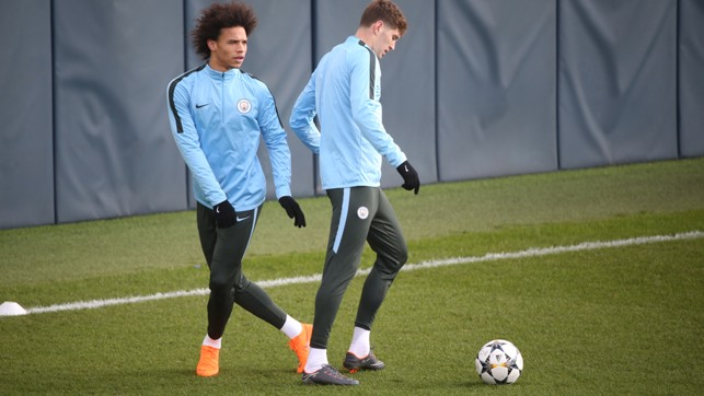 LEROY: Sane was joined by John Stones who made a return from injury against Leicester