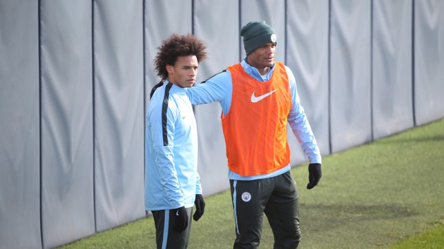 CAPTAIN: An encouraging arm for Leroy Sane from Vincent Kompany