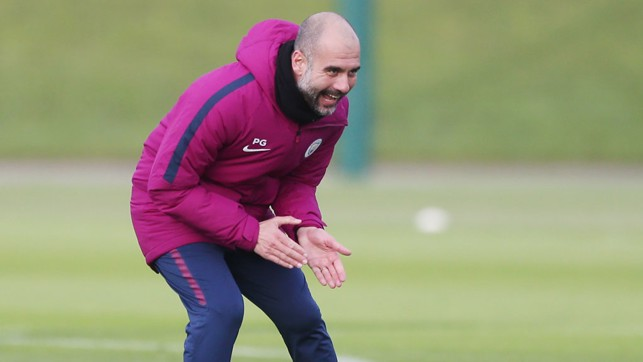 COME ON: Pep spurs on his squad