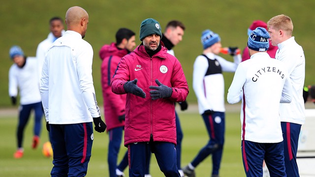 THE BOSS: Pep gives instructions in training.