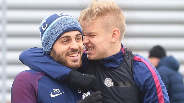 GOT YOU:  Oleks and Bernardo share the love.