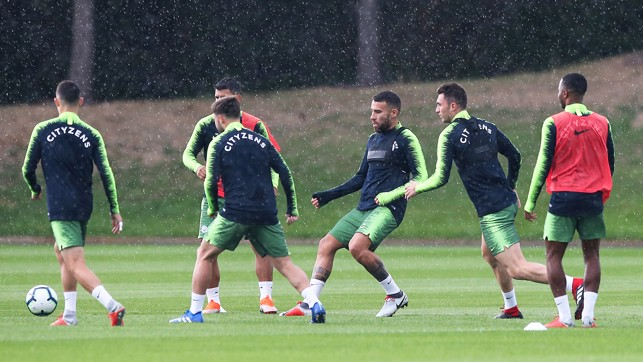 TRAINING IN THE RAIN: Gearing up for the Gunners.