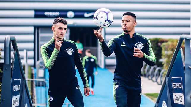 SKILLS: Gabriel Jesus shows us a trick as he heads out to training.