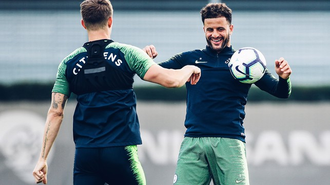 FUN AND GAMES: Kyle Walker having a ball!