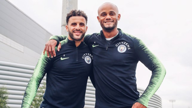 DEFENSIVE DUO: Smiles from Vincent Kompany and Kyle Walker.