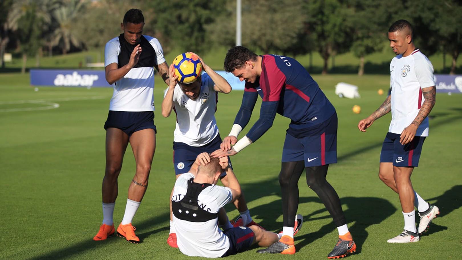 Los jugadores del City disfrutaron de un ambiente relajado durante su estancia en Abu Dhabi.