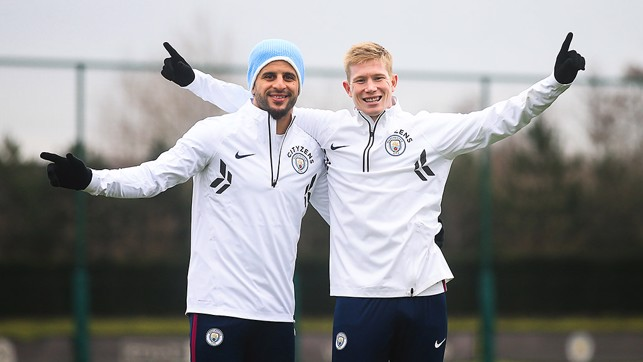 ALL SMILES: KDB and Kyle Walker pose for the camera.
