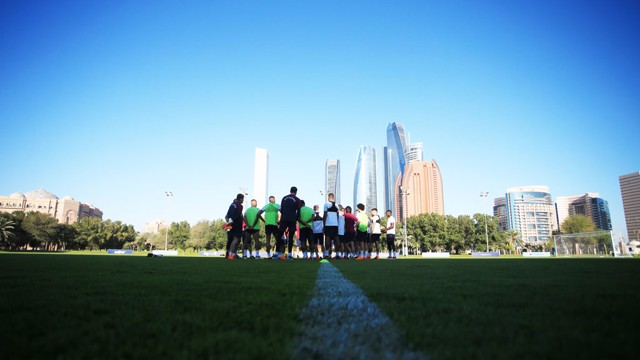 SKYLINE: The backdrop in Abu Dhabi is something special