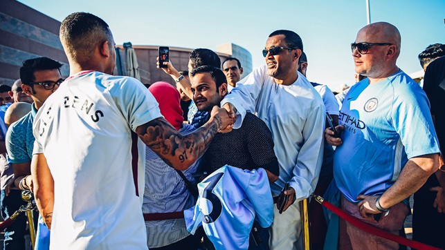 FAN'S TIME: Gabriel Jesus meets and greets some City fans in Abu Dhabi