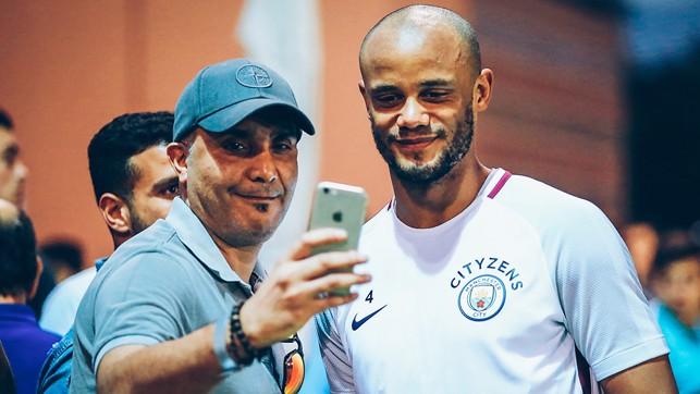 CAPTAIN: Vincent Kompany gives fans some company