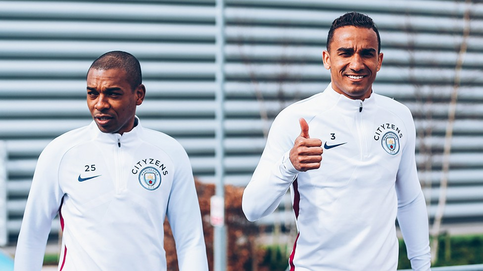 THUMBS UP: Brazilian duo Fernandinho (left) and Danilo step out