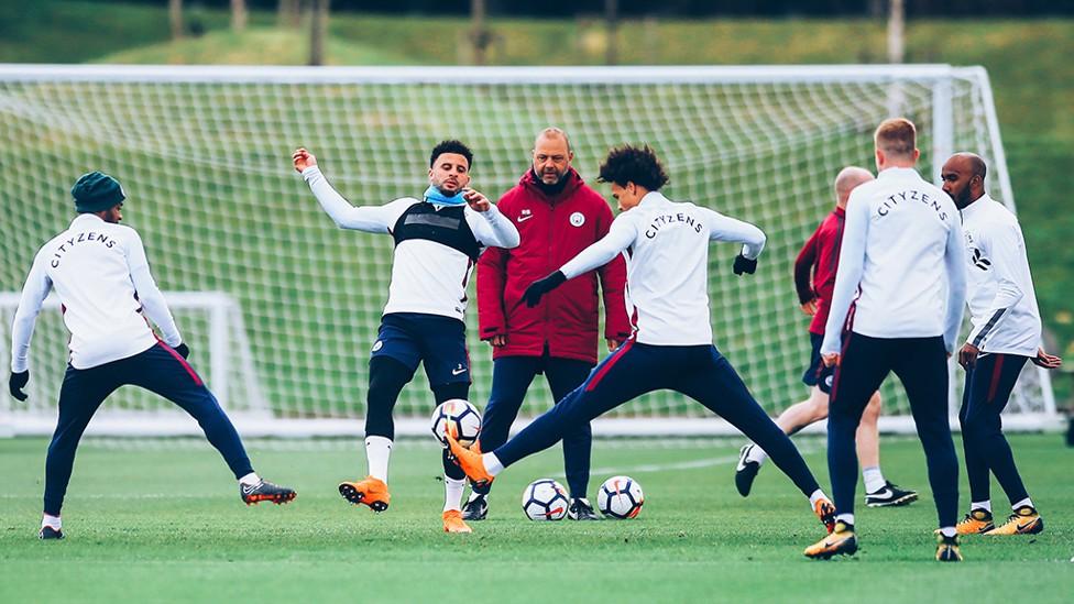 RONDO TIME: Leroy Sane hunts the ball down