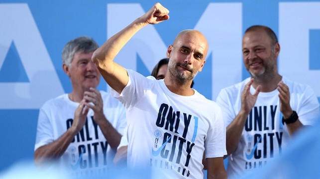 "Pep joins in 'We've got Guardiola!""'"