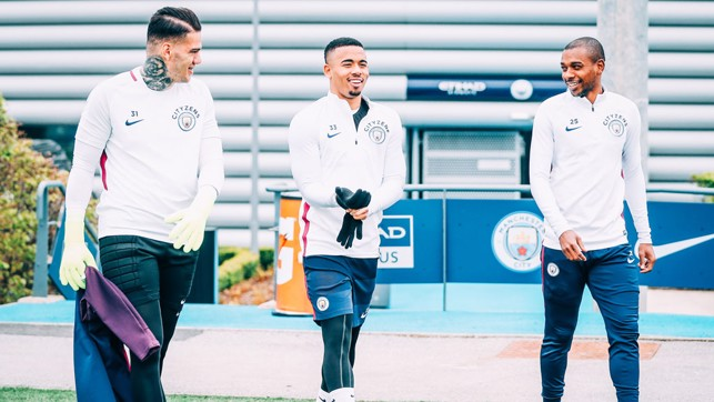 SOUTH AMERICAN BLUES: A buoyant Ederson, Gabriel Jesus and Fernandinho head out