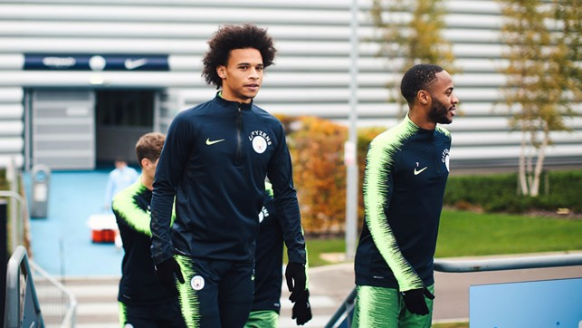 WALKING TALL: Leroy Sane and Raheem Sterling report for duty