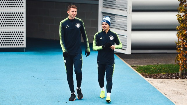 START THE WEEK: Aymeric Laporte and Brahim Diaz prepare ahead of another busy week