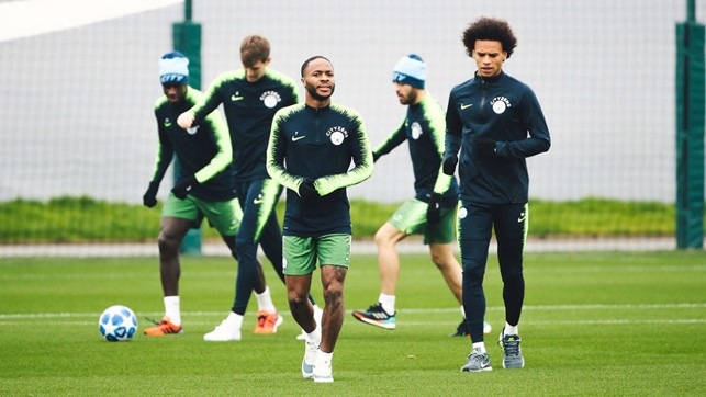 WING COMMAND: Raheem Sterling and Leroy Sane limber up