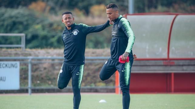 QUAD GOALS: Gabriel Jesus and Danilo stretch the legs