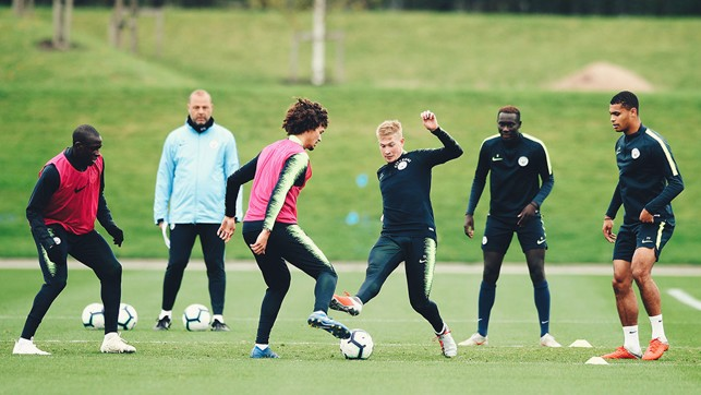 ALL TOGETHER NOW: The City players are put through their paces