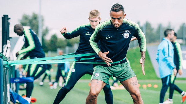 STRETCH: Danilo tunes up for Sunday's game.