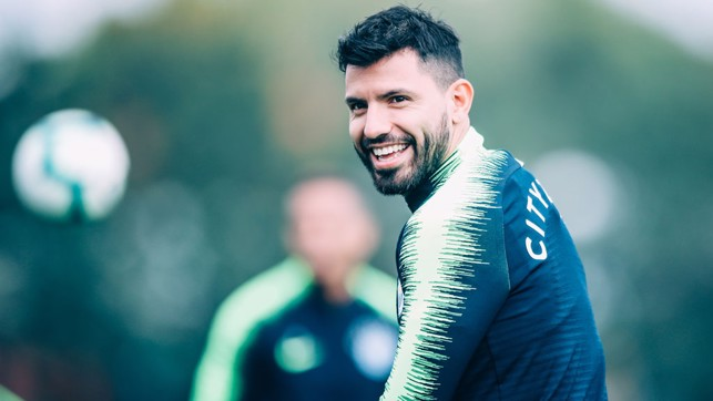 BEAMING: Sergio Aguero was all smiles in this morning's session.