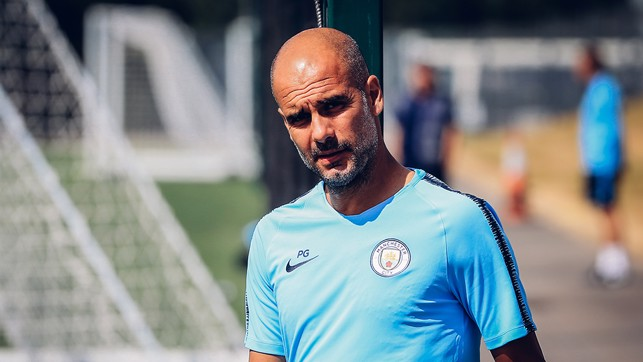 TRUE BLUE: Pep Guardiola is a study in concentration as pre-season preparations continue at the CFA