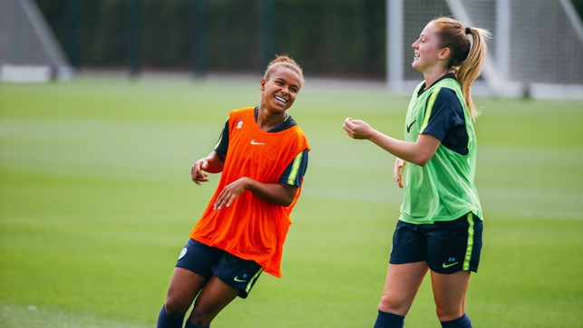 ALL SMILES: Nikita Parris and Keira Walsh.