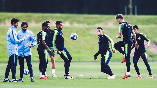 PRACTICE: The squad have a go with the new Champions League ball.