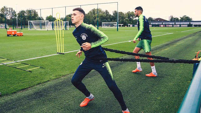 AT FULL STRETCH: Phil Foden is put through his paces