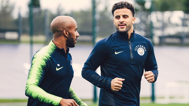 TWO'S COMPANY: Fabian Delph and Kyle Walker are a study in concentration as the focus switches to Cardiff