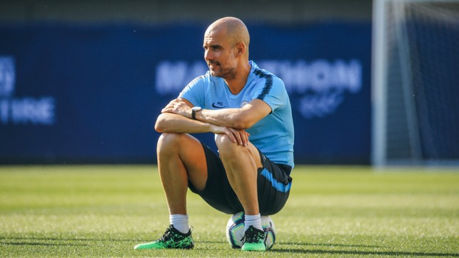 BEST SEAT IN THE HOUSE: Pep Guardiola, on the ball!