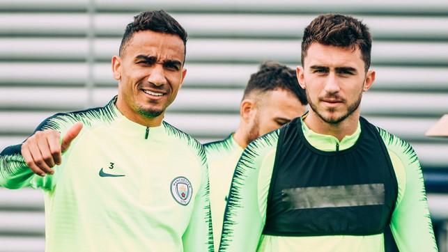 DEFENSIVE DUO: Danilo and Aymeric Laporte in good spirits