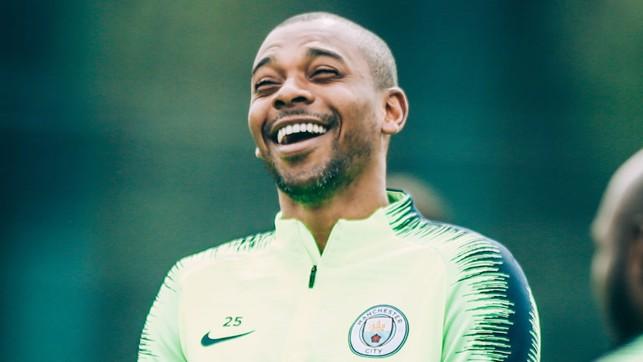 ALL SMILES: Fernandinho seems to be enjoying training