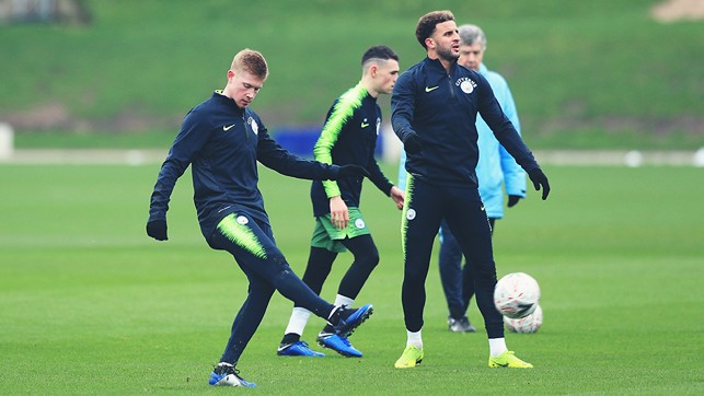 PASS MASTER: KDB limbers up with some passing practice
