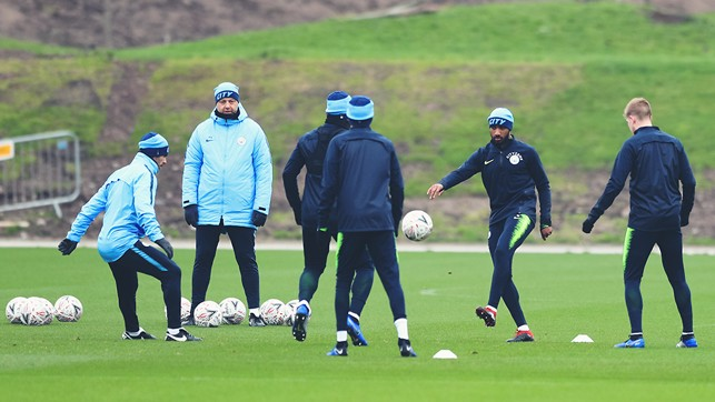 RONDO TIME:  Fabian Delph and Kevin De Bruyne are amonsgst those working on their close-quarter skills