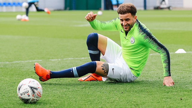 WALKER THIS WAY: England right-back Kyle hits the turf