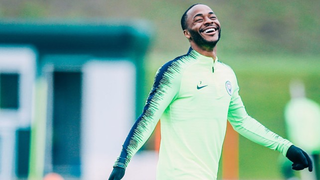 CAUSING A STER: Something's tickled Raheem in training