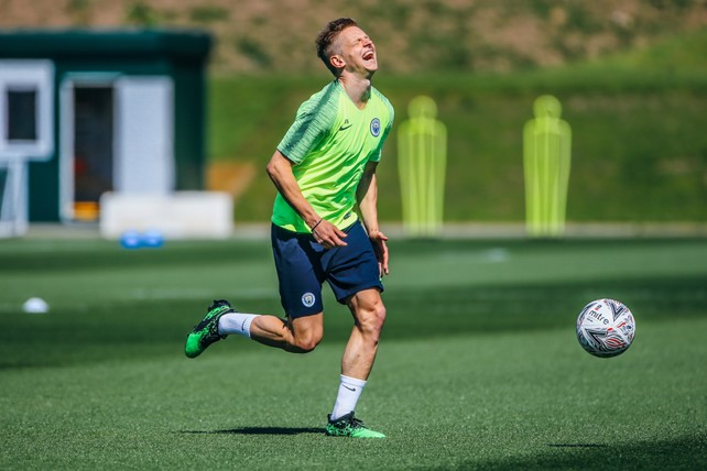 LAUGHING LEFT-BACK: Oleks Zinchenko, typically in fine spirits