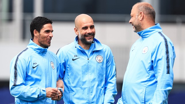 HARDER: Guardiola, Arteta and Borrell in fine spirits after victory in the 'toughest title race' of Pep's career