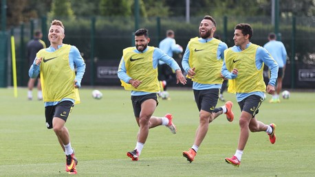 HAPPY CAMP:  The boys enjoying themselves at the CFA ahead of West Ham.