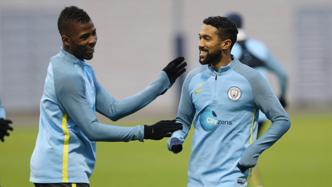 MATES: Iheanacho and Clichy smiling and laughing.