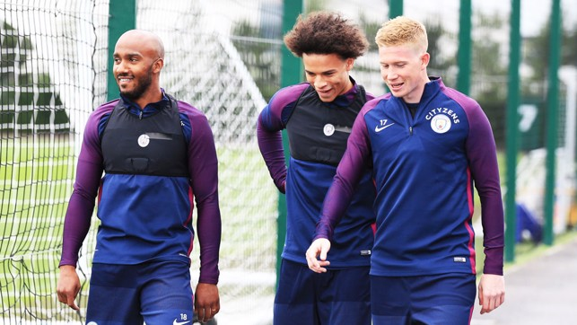 FAB THREE: Delph, Sane and De Bruyne head out for day two