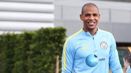 FORWARD THINKING: Fernando full of smiles before training kicks off.