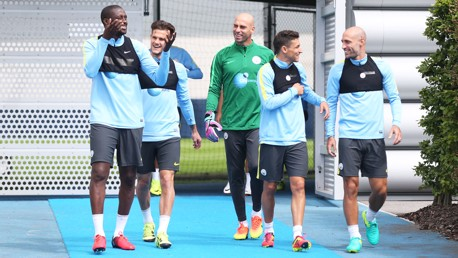 HERE COME THE BOYS: Everyone was pleased to have Zaba back training.