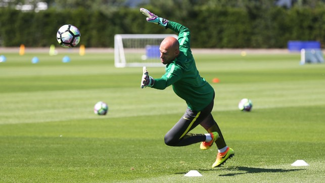WILLY SAVE IT: Caballero flings himself to his left.