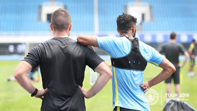 LEAN ON ME: Gael Clichy takes a breather during the session.
