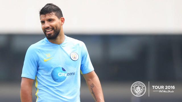 SMILING SERG: Aguero sports his new beard in City blue.