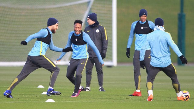MOVE IT: Raheem Sterling was enjoying today's ball work.